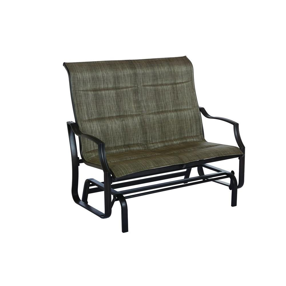 Hampton Bay Statesville Metal Patio Outdoor Double Glider Throughout Double Glider Benches With Cushion (Image 10 of 25)