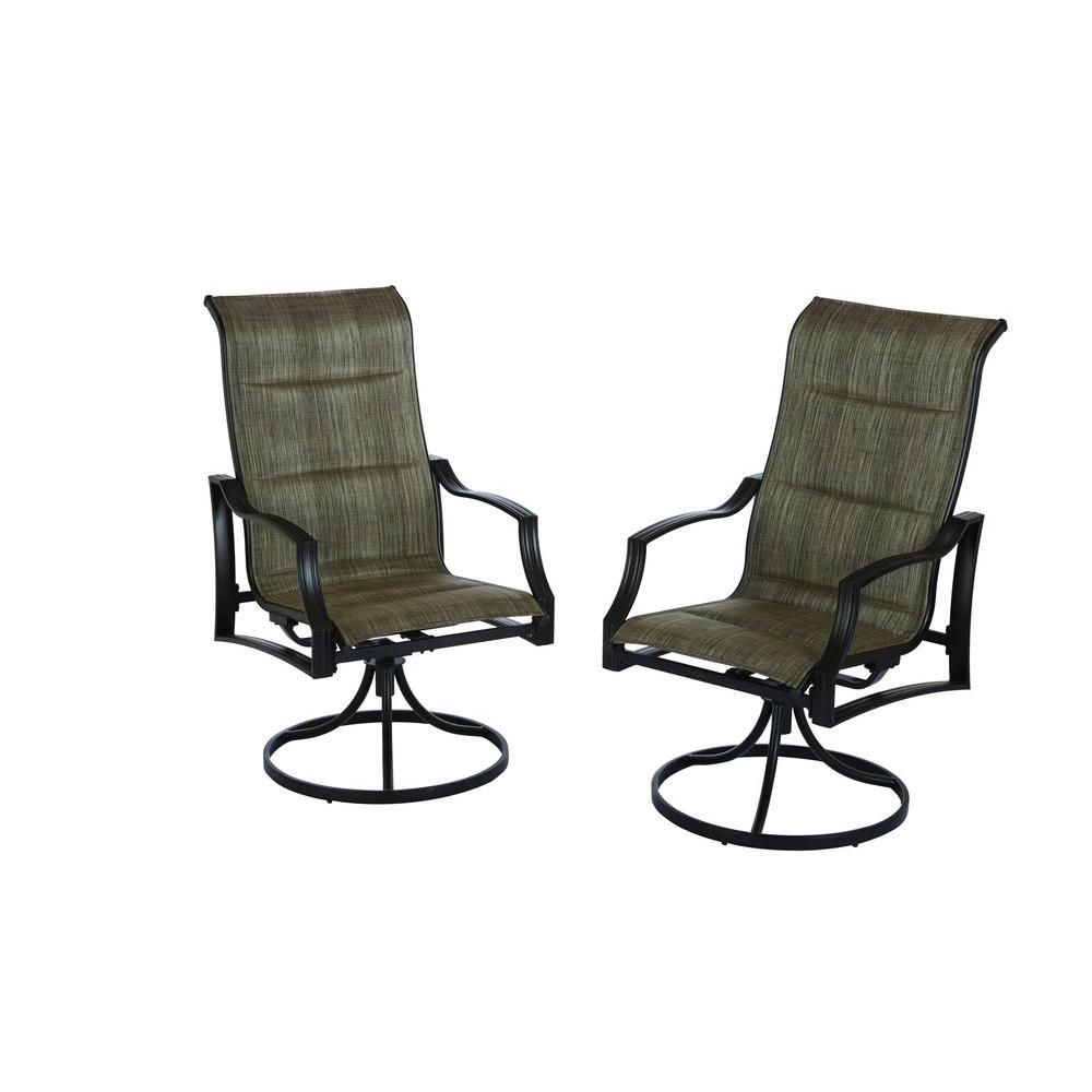 Hampton Bay Statesville Padded Sling Patio Lounge Swivel Chairs (2 Pack) With Padded Sling High Back Swivel Chairs (View 8 of 25)