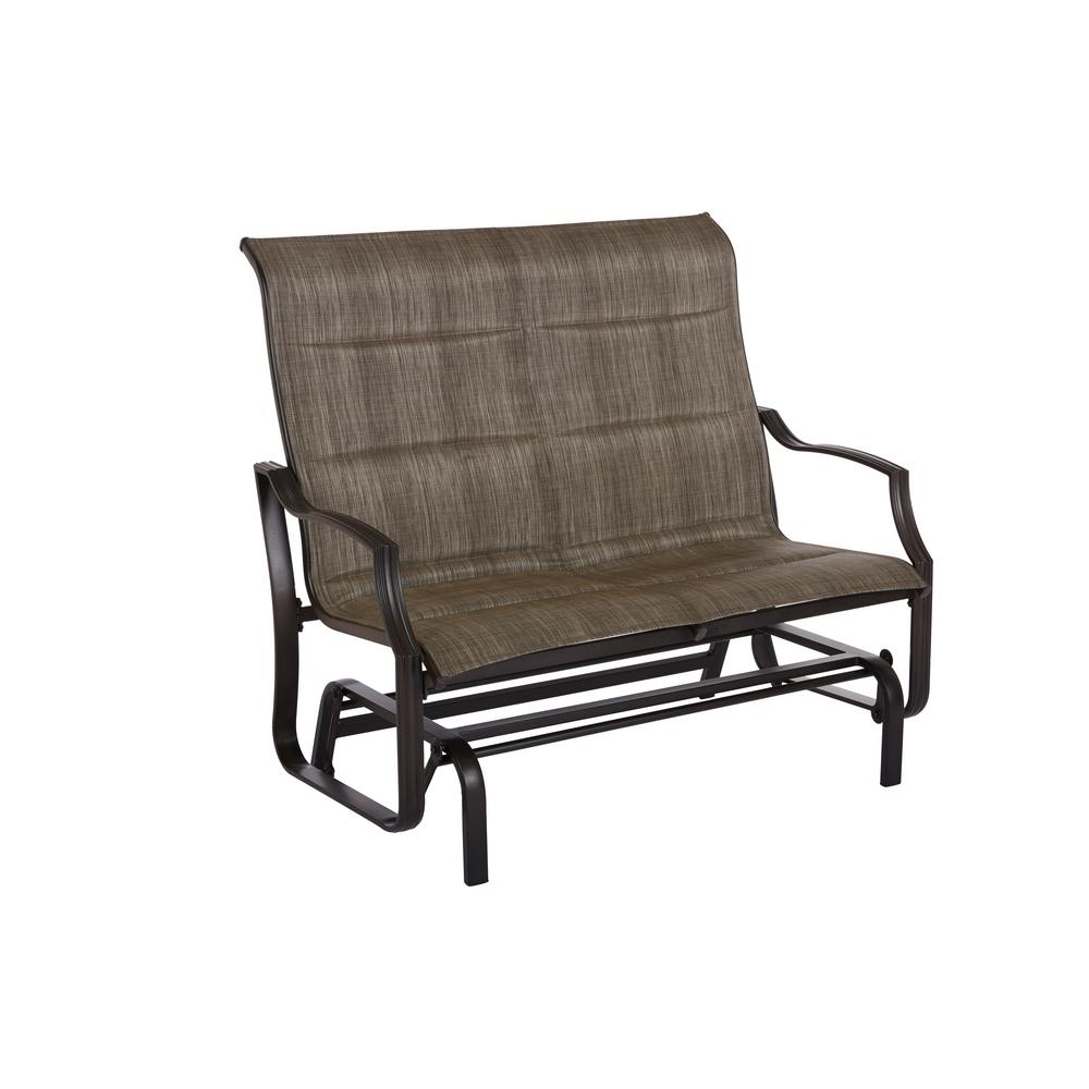 Hampton Bay Statesville Pewter Aluminum Outdoor Glider For Padded Sling Double Glider Benches (View 8 of 25)