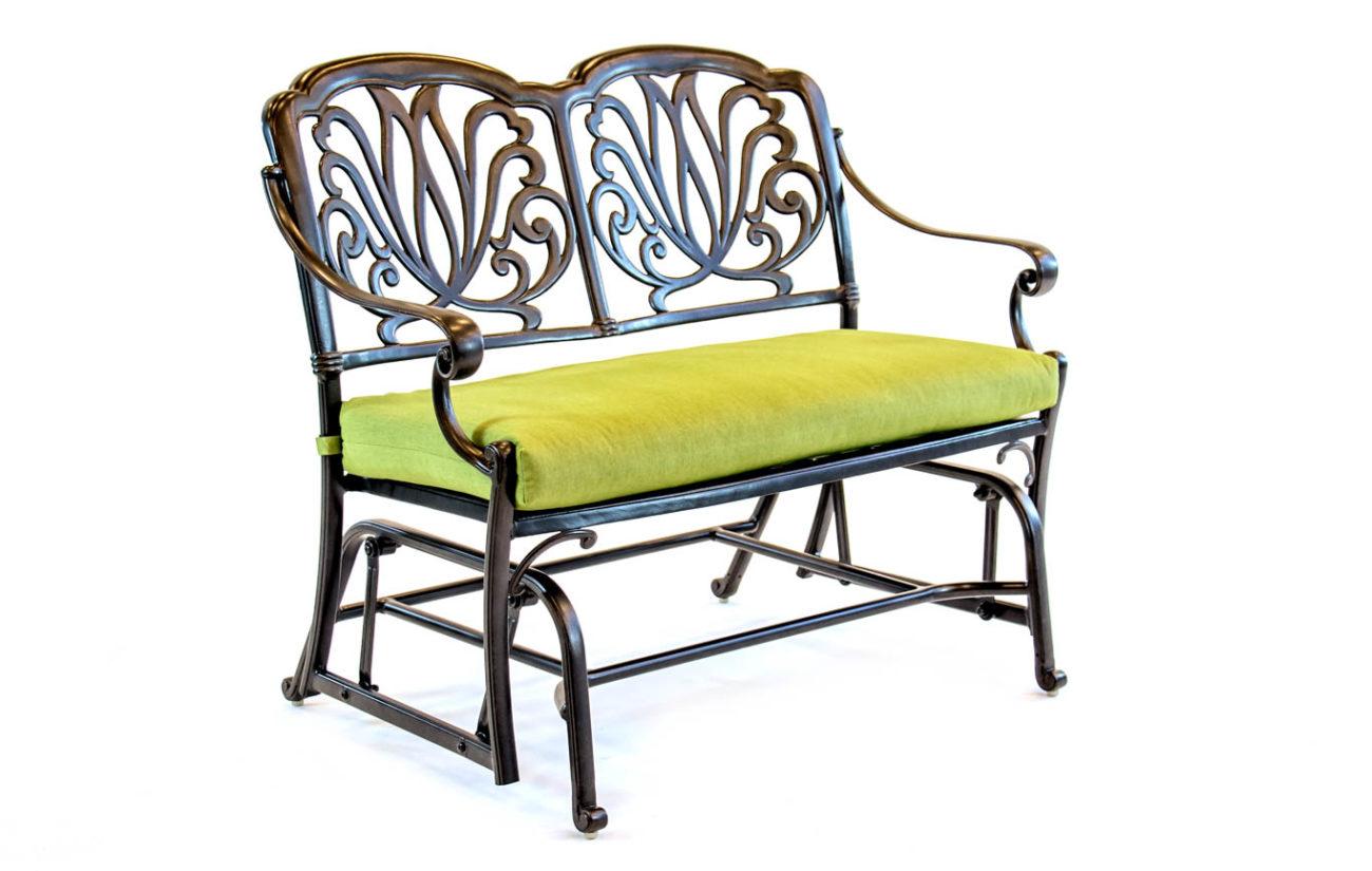Hanamint – Biscayne – Aluminum – Glider Cushion Bench In Aluminum Glider Benches With Cushion (View 7 of 25)