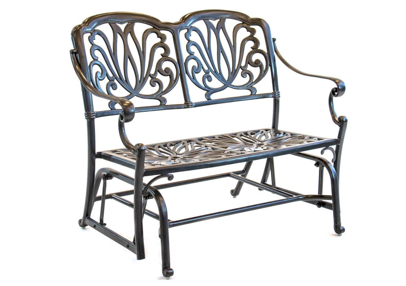 Hanamint – Biscayne – Aluminum – Glider Cushion Bench With Aluminum Glider Benches With Cushion (View 4 of 25)