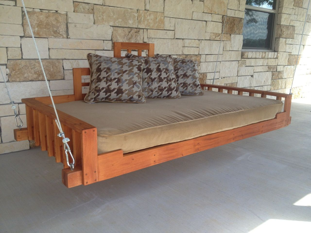 Hand Made Outdoor Patio Swing Bed Or Hanging Day Bed For Hanging Daybed Rope Porch Swings (Image 14 of 25)