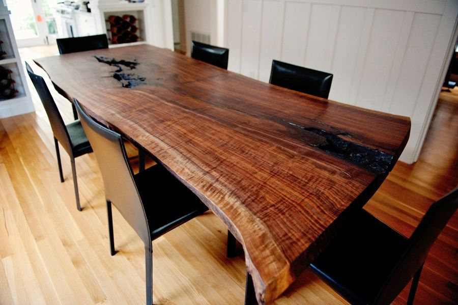 Handmade Live Edge Modern Walnut Dining Tabletaylor For Walnut Finish Live Edge Wood Contemporary Dining Tables (Image 8 of 25)