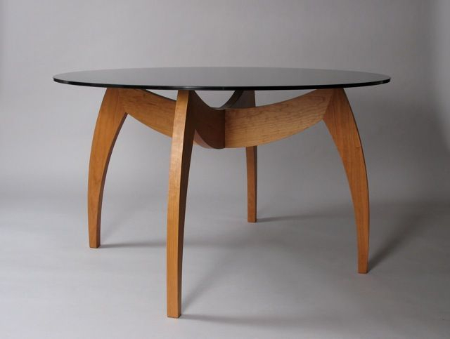 Handmade Modern Cherry Dining Table With Glass Topdavid In Modern Round Glass Top Dining Tables (Image 8 of 25)