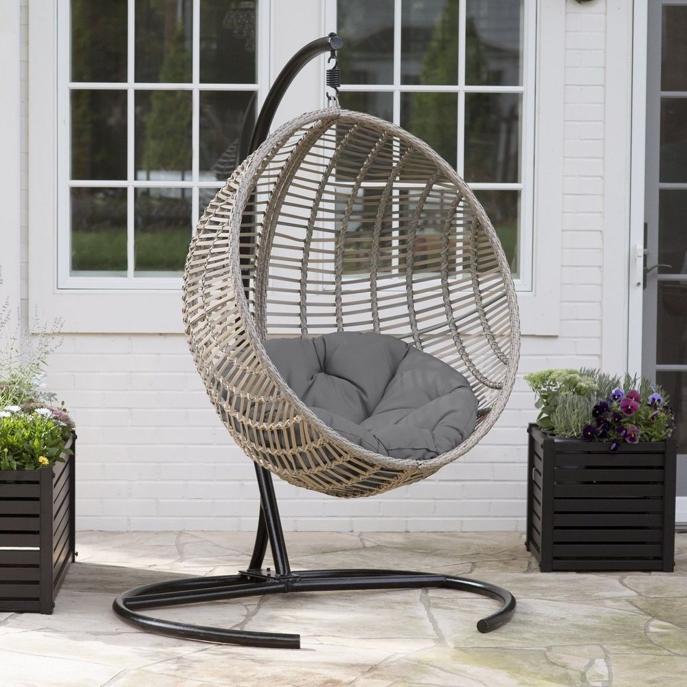 Hanging Egg Chair Swing Resin Wicker Patio Outdoor Home Throughout Outdoor Wicker Plastic Tear Porch Swings With Stand (View 9 of 25)