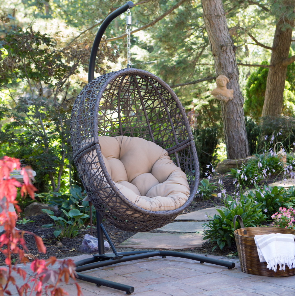 Hanging Egg Chair With Stand Wicker Basket Cushion Indoor Outdoor Hammock Swing Intended For Outdoor Wicker Plastic Tear Porch Swings With Stand (View 10 of 25)