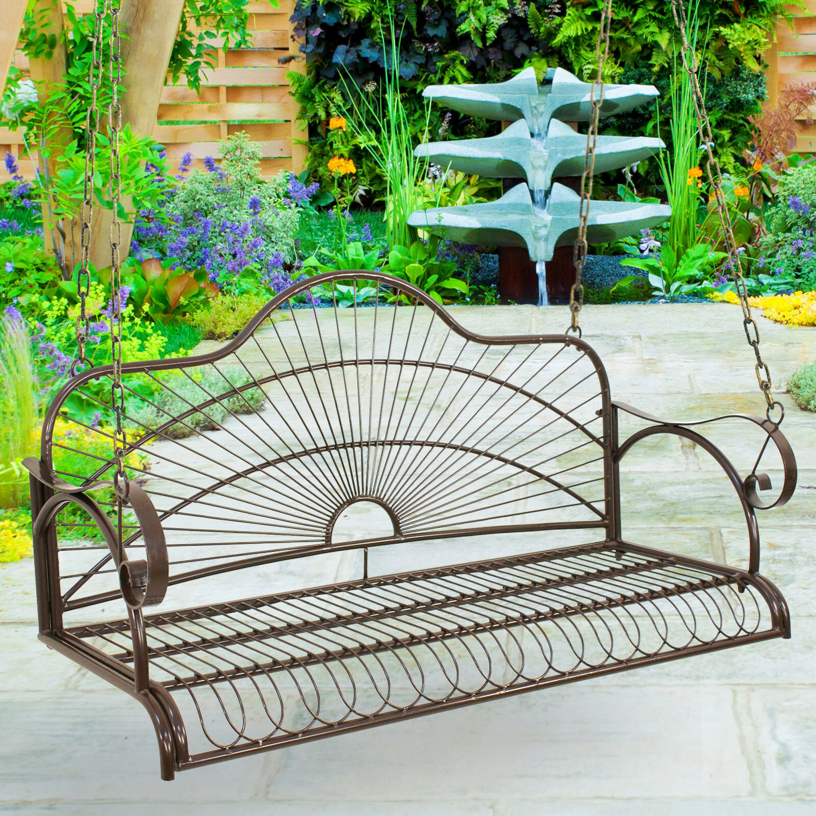 Hanging Iron Metal Porch Swing Chair Bench Backyard Garden For 2 Person Gray Steel Outdoor Swings (View 19 of 25)