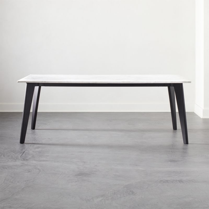 Harper Black Dining Table With Marble Top + Reviews | Client In Frosted Glass Modern Dining Tables With Grey Finish Metal Tapered Legs (View 5 of 25)