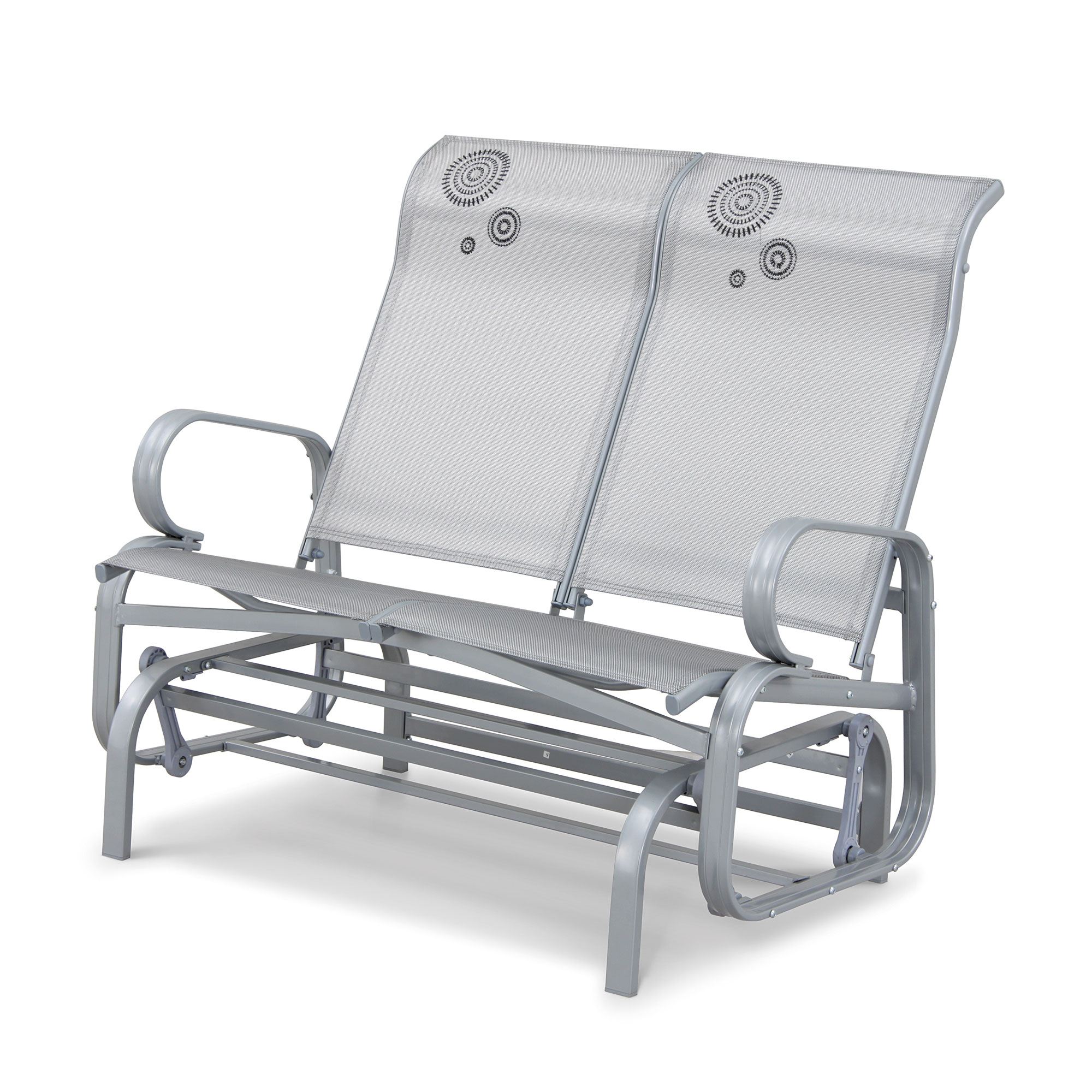 Havana Silver Twin Seat Glider W/black Flower/2 X 1 In Twin Seat Glider Benches (View 7 of 25)