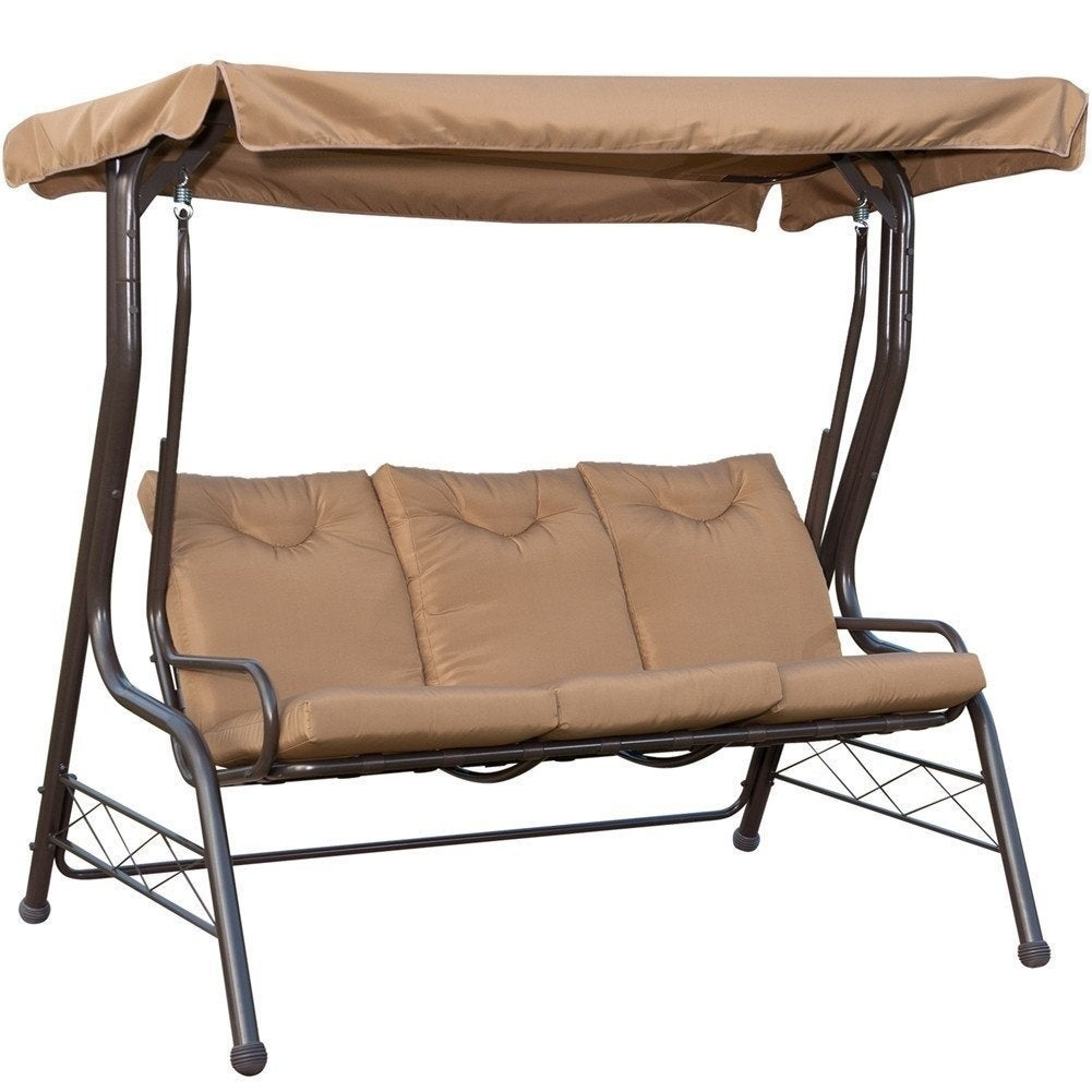 Havenside Home Asilomar Brown 3 Seat Swing Chair Padded Swing Hammock Glider Pertaining To Outdoor Swing Glider Chairs With Powder Coated Steel Frame (View 12 of 25)