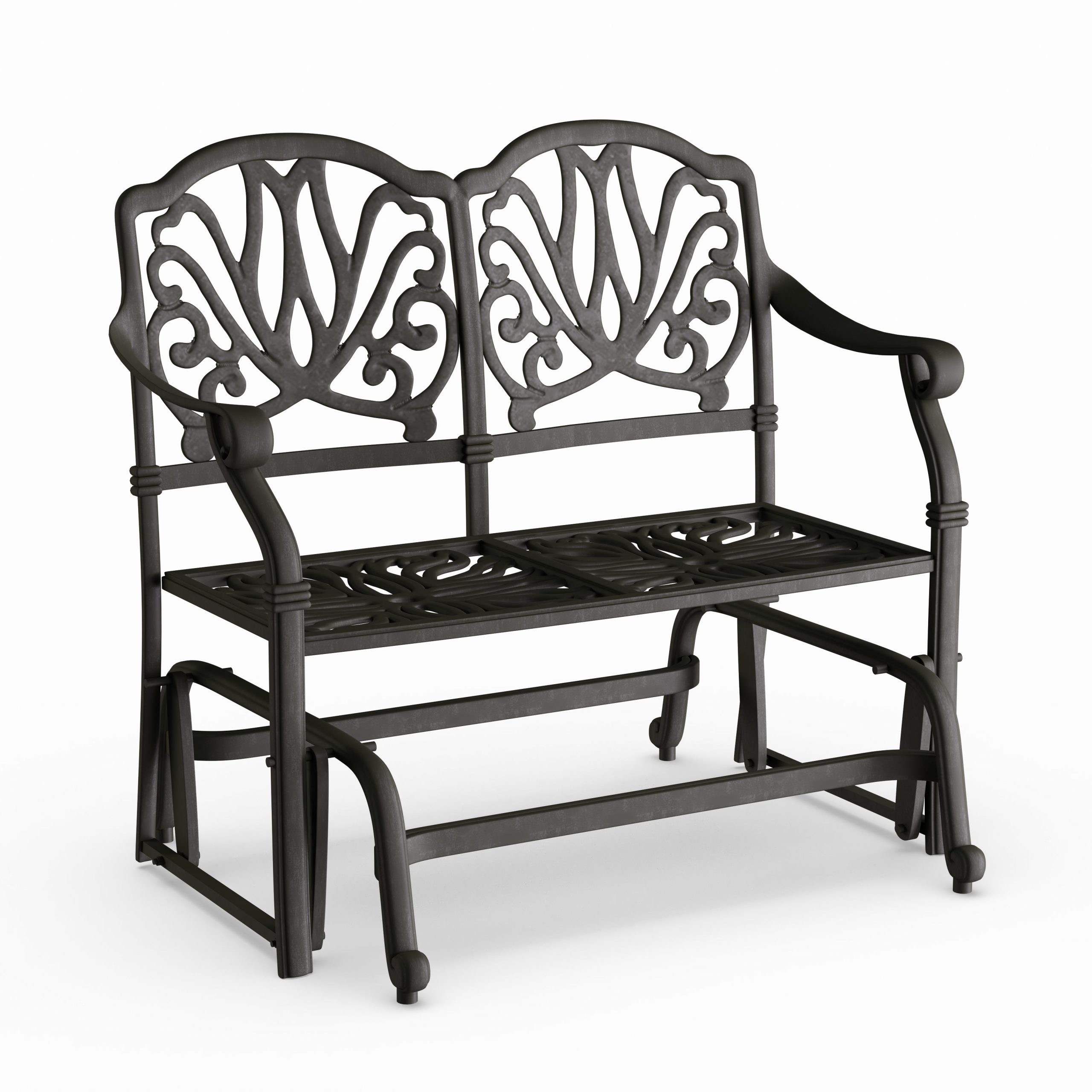 Havenside Home Avalon Cast Aluminum Glider Bench With Seat Cushion Pertaining To Aluminum Glider Benches With Cushion (View 15 of 25)