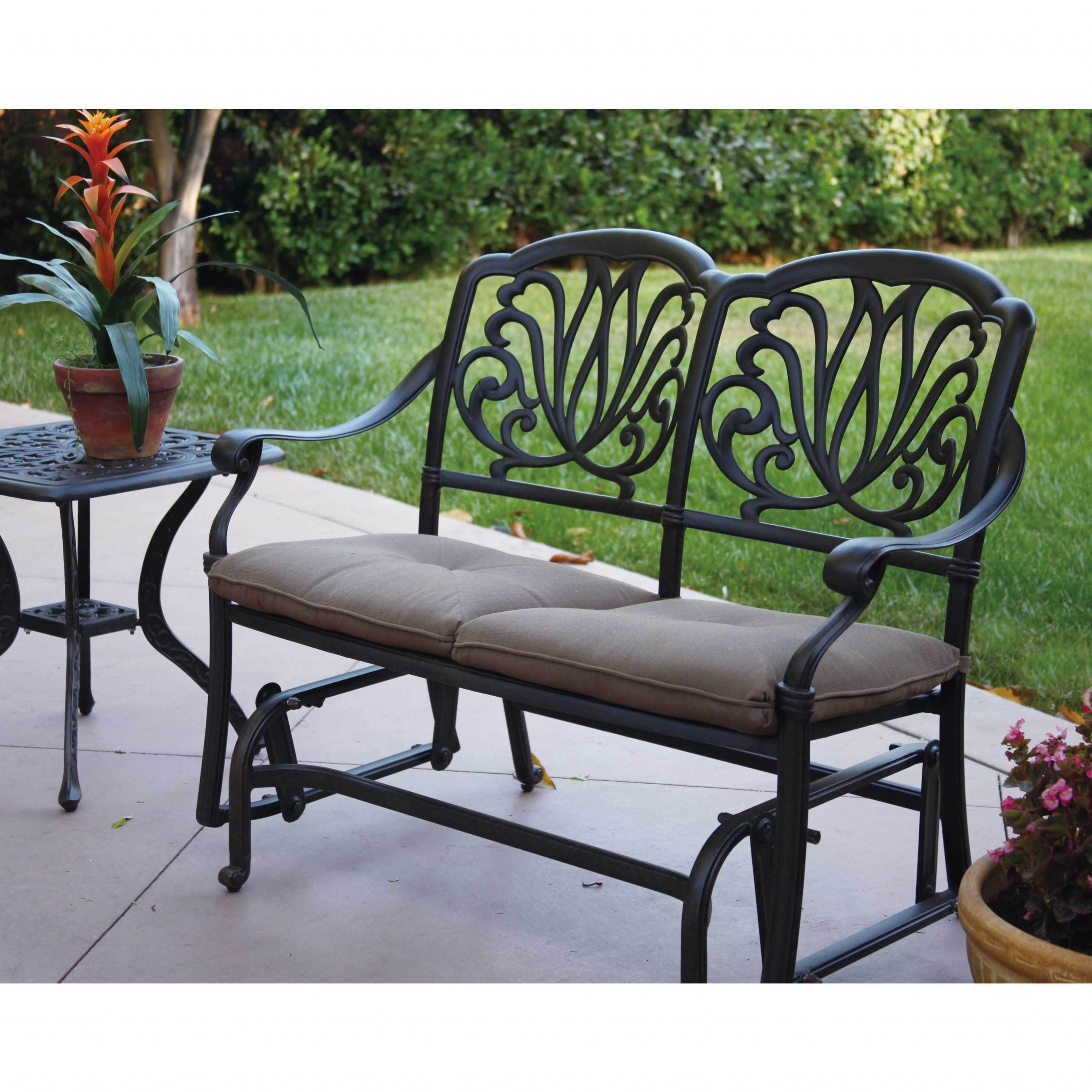 Havenside Home Avalon Cast Aluminum Glider Bench With Seat Cushion With Regard To Aluminum Glider Benches With Cushion (View 5 of 25)