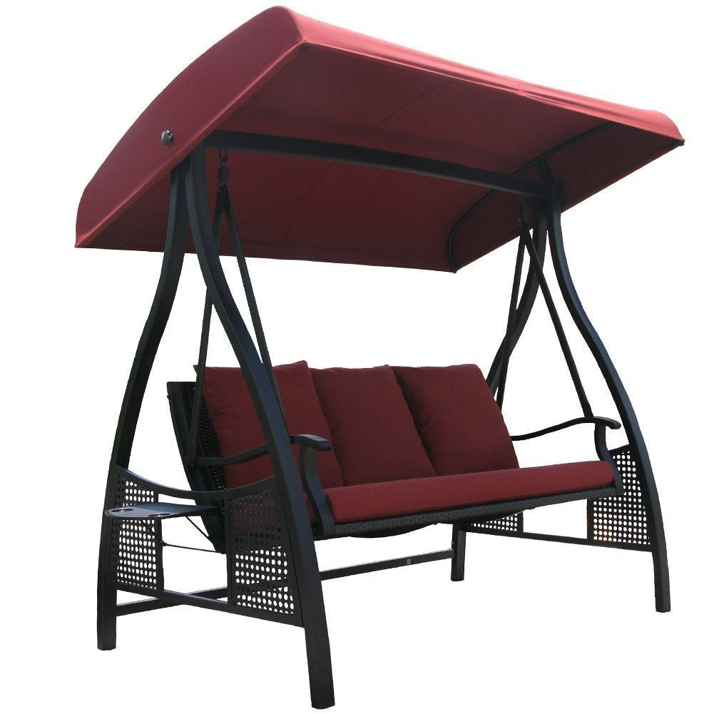 Havenside Home Baddeck Outdoor Red 3 Seat Porch Swing With Adjustable  Polyester Canopy With Canopy Porch Swings (Image 8 of 25)