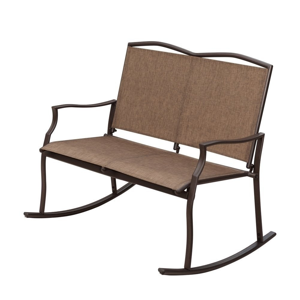 Havenside Home Chetumal Taupe 2 Seat Sling Glider Rocker Chair With Regard To Rocking Love Seats Glider Swing Benches With Sturdy Frame (View 15 of 25)