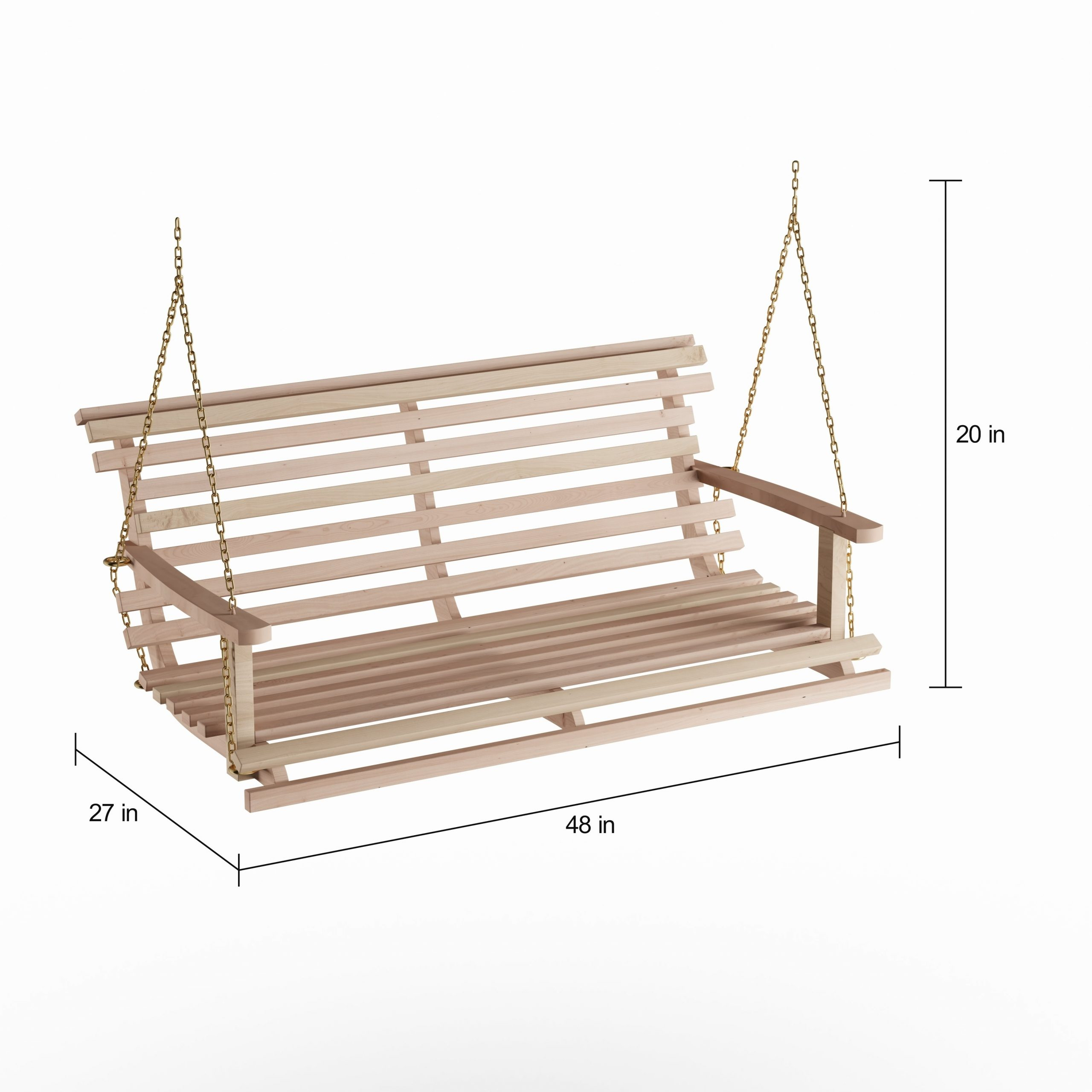 Havenside Home Goodwin Acasia Wood Bench Swing With Chain For Porch Swings With Chain (View 3 of 25)