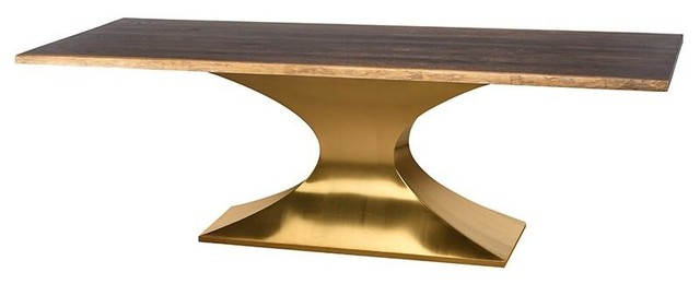 "Hiero Dining Table Seared Oak Top Brushed Gold Base 96"" Within Dining Tables In Seared Oak With Brass Detail (View 7 of 25)"