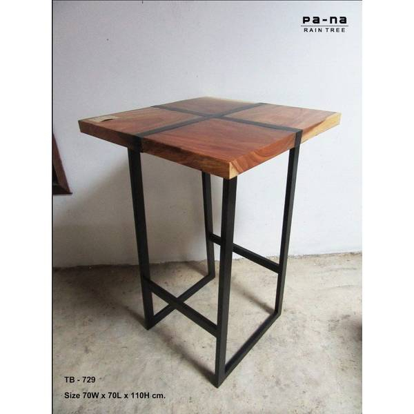 Hight Square Table With Iron Cross With Acacia Wood Top Dining Tables With Iron Legs On Raw Metal (Image 11 of 25)