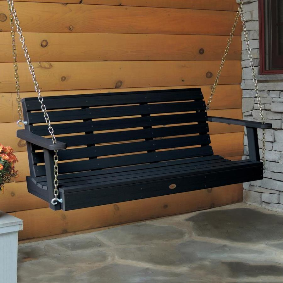Highwood Weatherly 2 Person Black Plastic Outdoor Swing At With 2 Person Black Wood Outdoor Swings (View 6 of 25)
