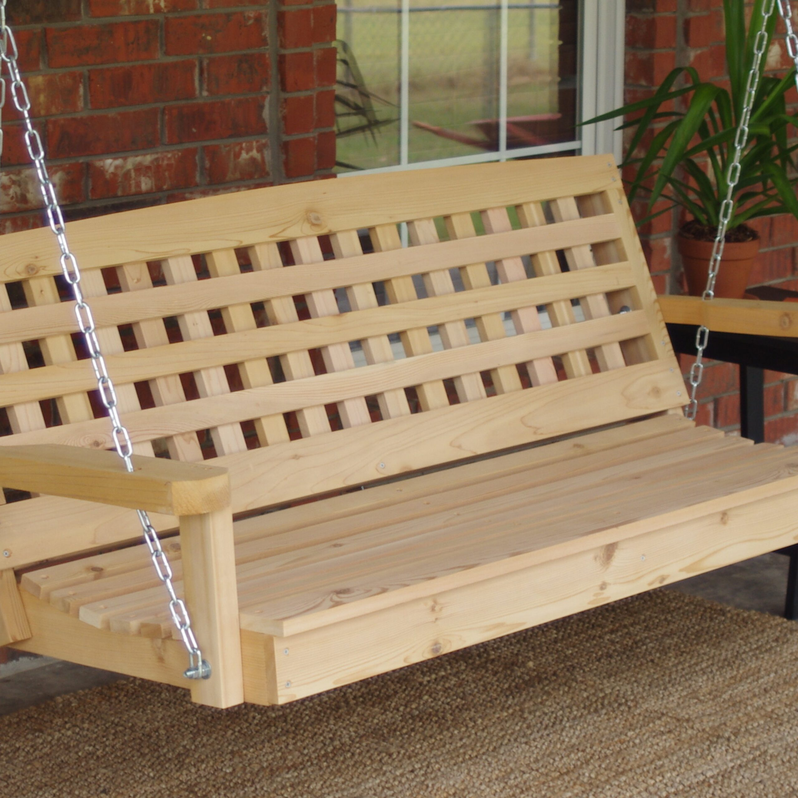Hinderliter Lattice Back Cedar Porch Swing Pertaining To Contoured Classic Porch Swings (View 14 of 25)