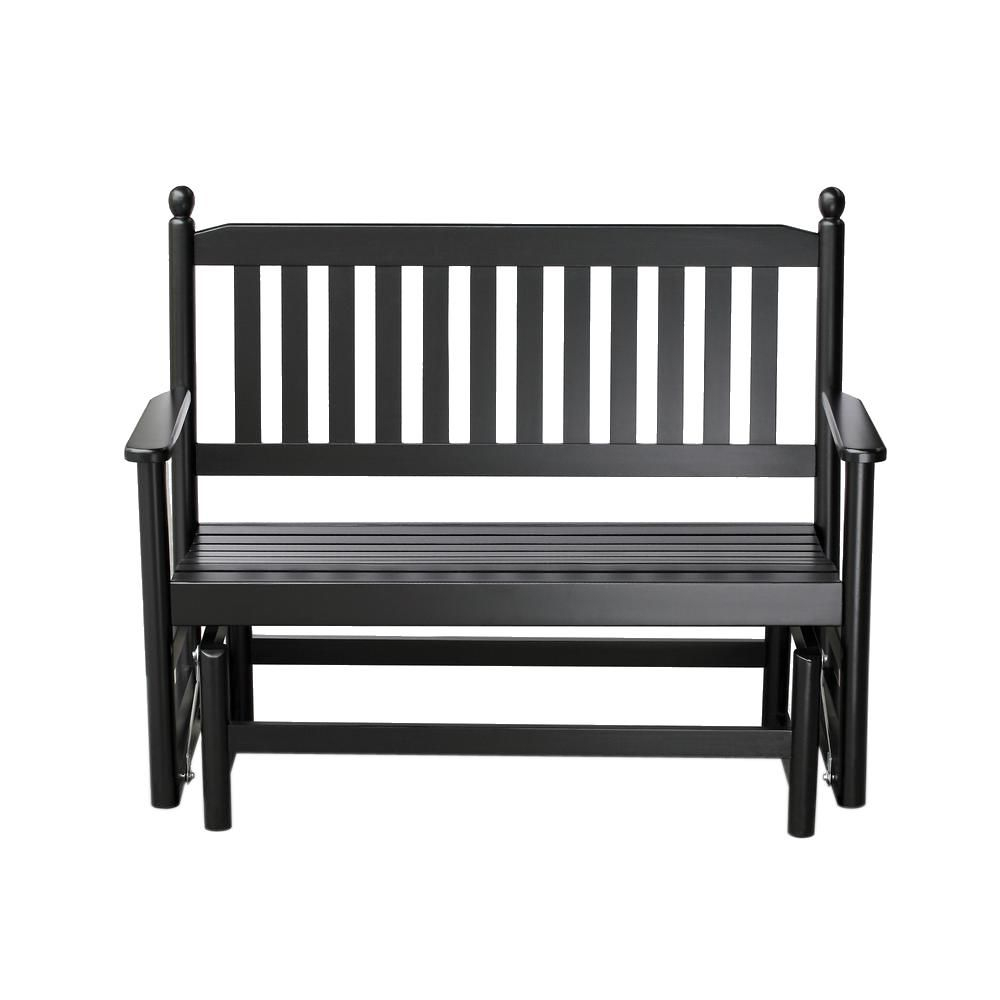 Hinkle Chair Company 2 Person Black Wood Outdoor Patio In 2 Person White Wood Outdoor Swings (View 3 of 25)