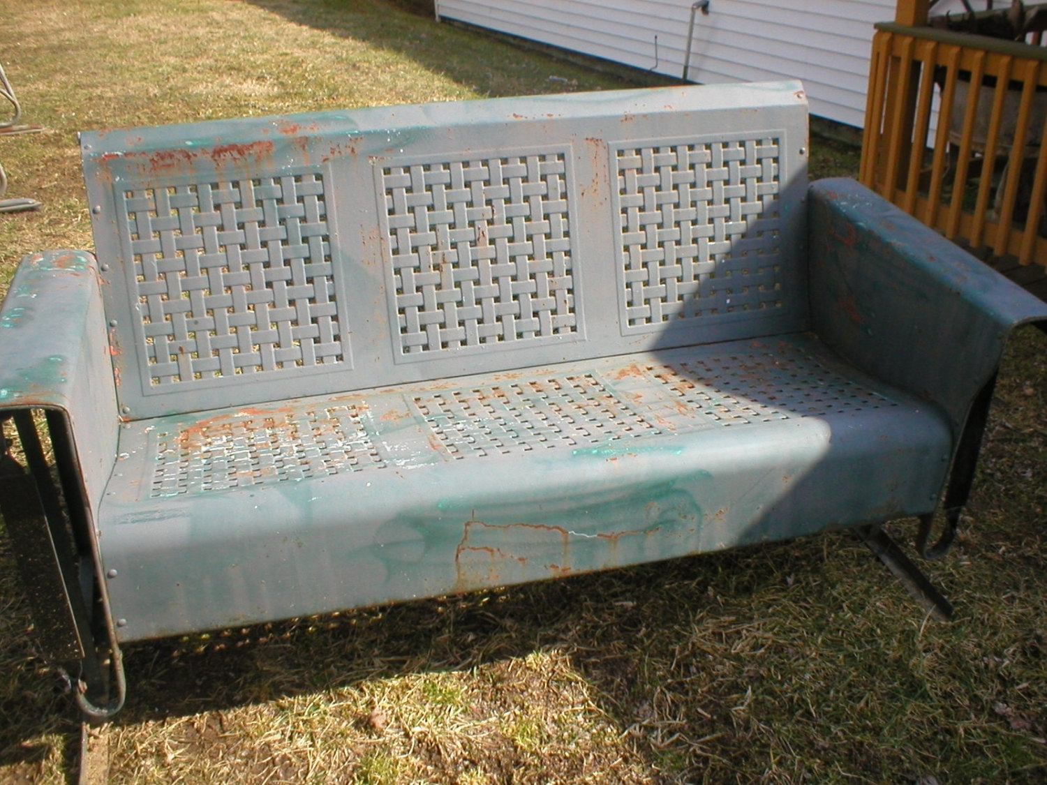 History Of Old Metal Porch Glider — Randolph Indoor And Intended For Metal Retro Glider Benches (Image 6 of 25)