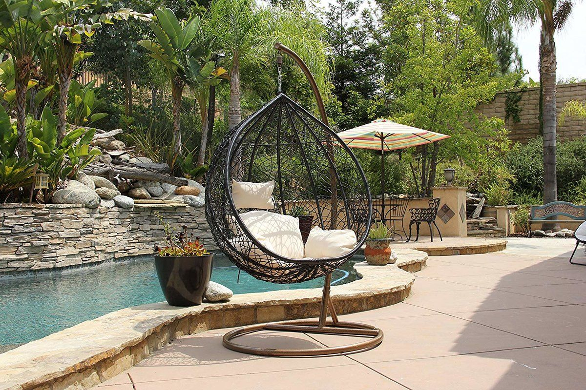 Featured Image of Outdoor Wicker Plastic Tear Porch Swings With Stand