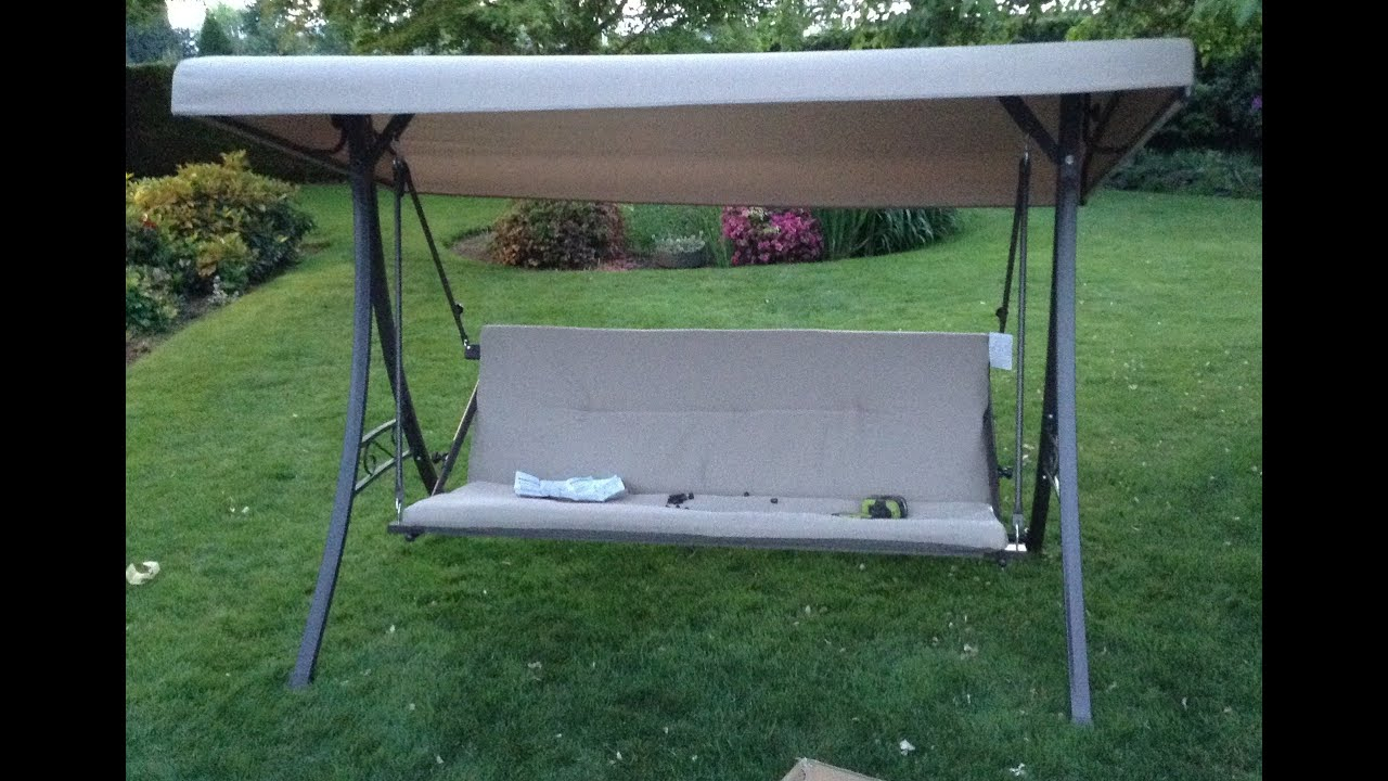 Home Depot Hampton Bay Futon Swing Assembly Tutorial Pertaining To Canopy Patio Porch Swing With Stand (View 16 of 25)