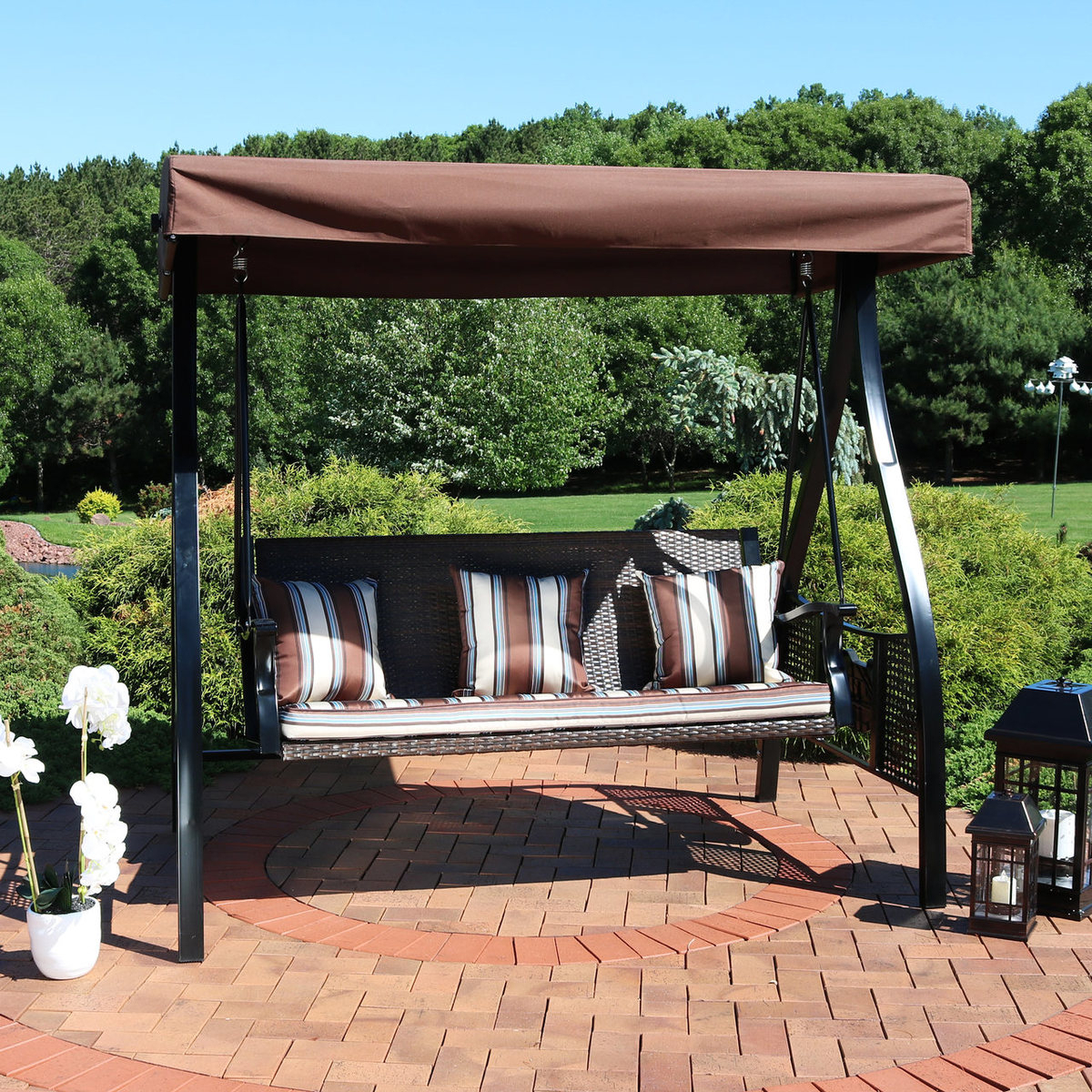 Home & Garden Patio Swing Adjustable Canopy Steel Frame Gray Regarding Patio Gazebo Porch Swings (View 9 of 25)