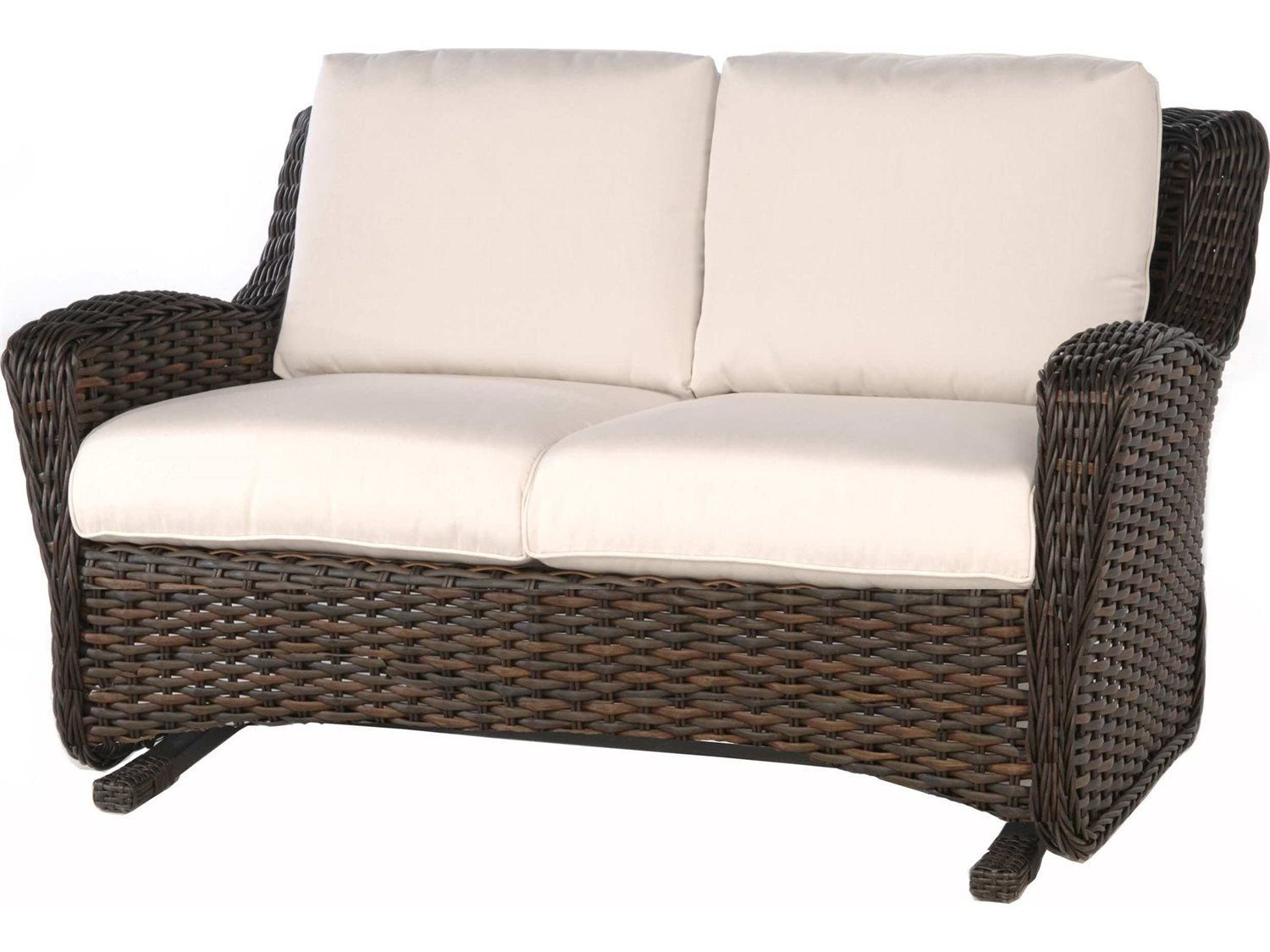 Homecrest Holly Hill Cushion Aluminum Arm Glider Sofa Intended For Outdoor Loveseat Gliders With Cushion (View 18 of 25)