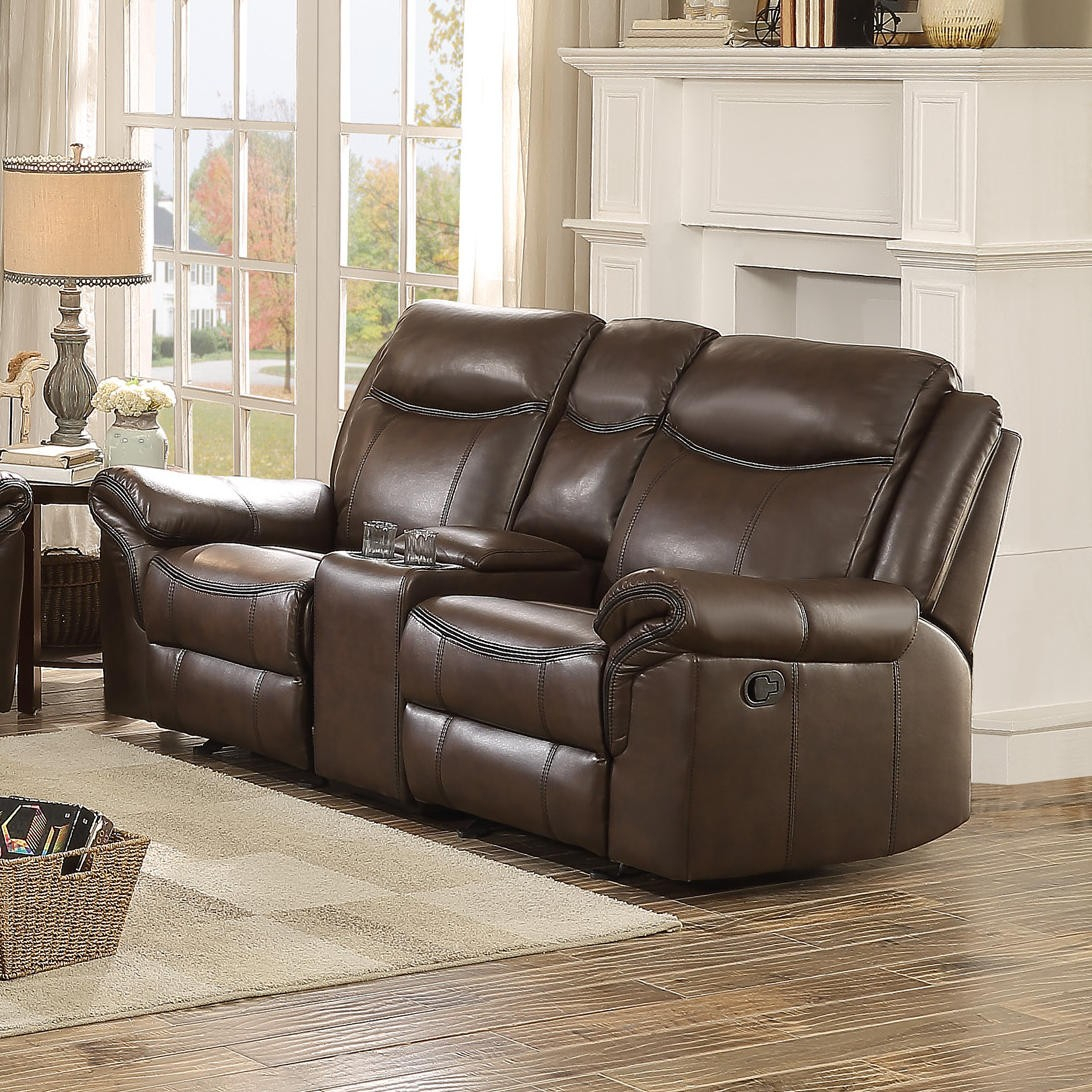 Homelegance Aram Double Glider Reclining Loveseat With Console In Dark Brown With Double Glider Loveseats (Image 11 of 25)