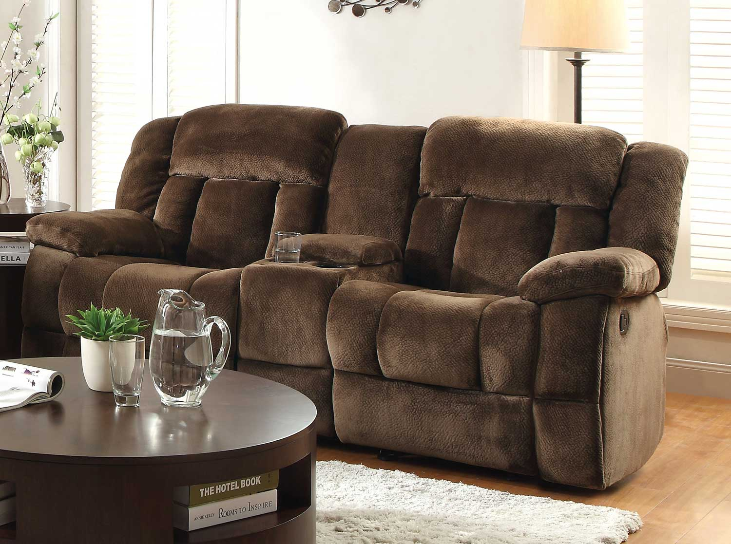 Homelegance Laurelton Chocolate Double Glider Reclining Loveseat Throughout Double Glider Loveseats (Image 12 of 25)
