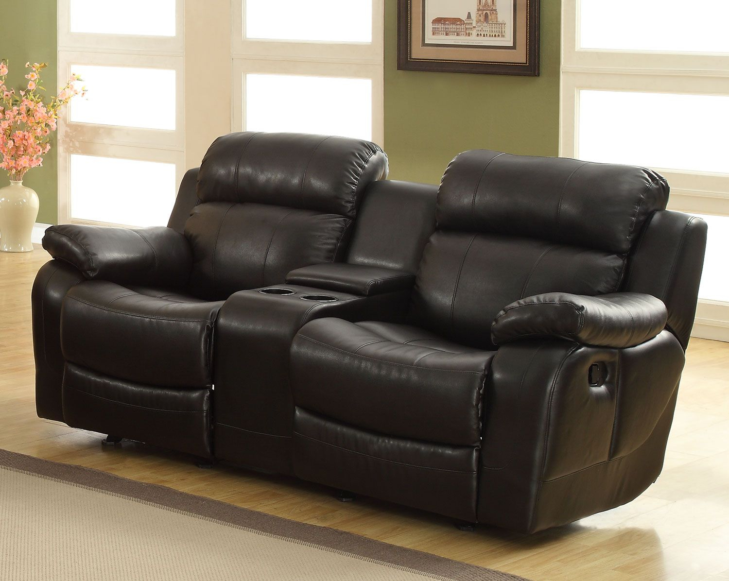 Homelegance Marille Love Seat Glider Recliner With Center With Regard To Double Glider Loveseats (Image 13 of 25)