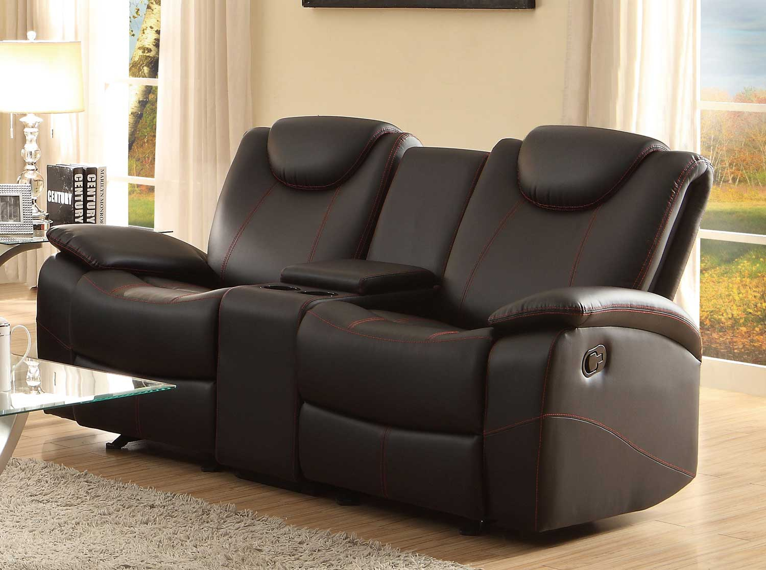 Homelegance Talbot Black Double Glider Reclining Loveseat Within Double Glider Loveseats (Image 14 of 25)
