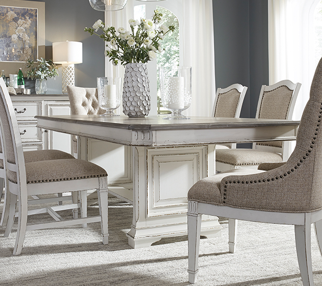 Homepage Title In Distressed Grey Finish Wood Classic Design Dining Tables (Image 13 of 25)