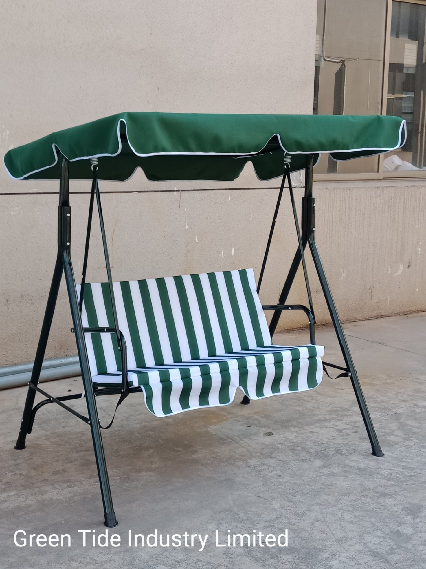 [Hot Item] Outdoor Garden Swing Chair Steel Double Person Furniture Supermarket Hot Sale Items With Regard To Outdoor Pvc Coated Polyester Porch Swings With Stand (View 20 of 25)