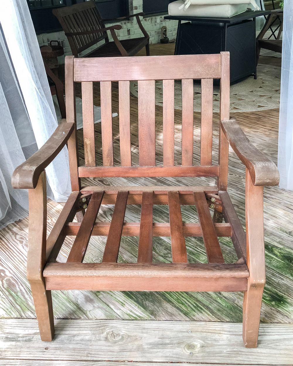 How To Restore Wood Outdoor Furniture | Porches, Patios Throughout 2 Person Light Teak Oil Wood Outdoor Swings (View 11 of 25)