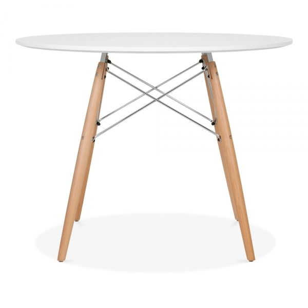 Iconic Designs Dsw Style Dining Round Table, White 100Cm In Regarding Eames Style Dining Tables With Chromed Leg And Tempered Glass Top (View 3 of 25)