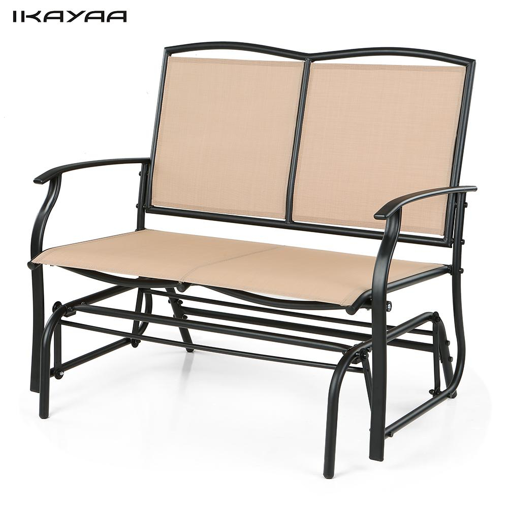 Ikayaa 2 Person Patio Swing Glider Bench Chair Loveseat Inside 2 Person Loveseat Chair Patio Porch Swings With Rocker (View 21 of 25)