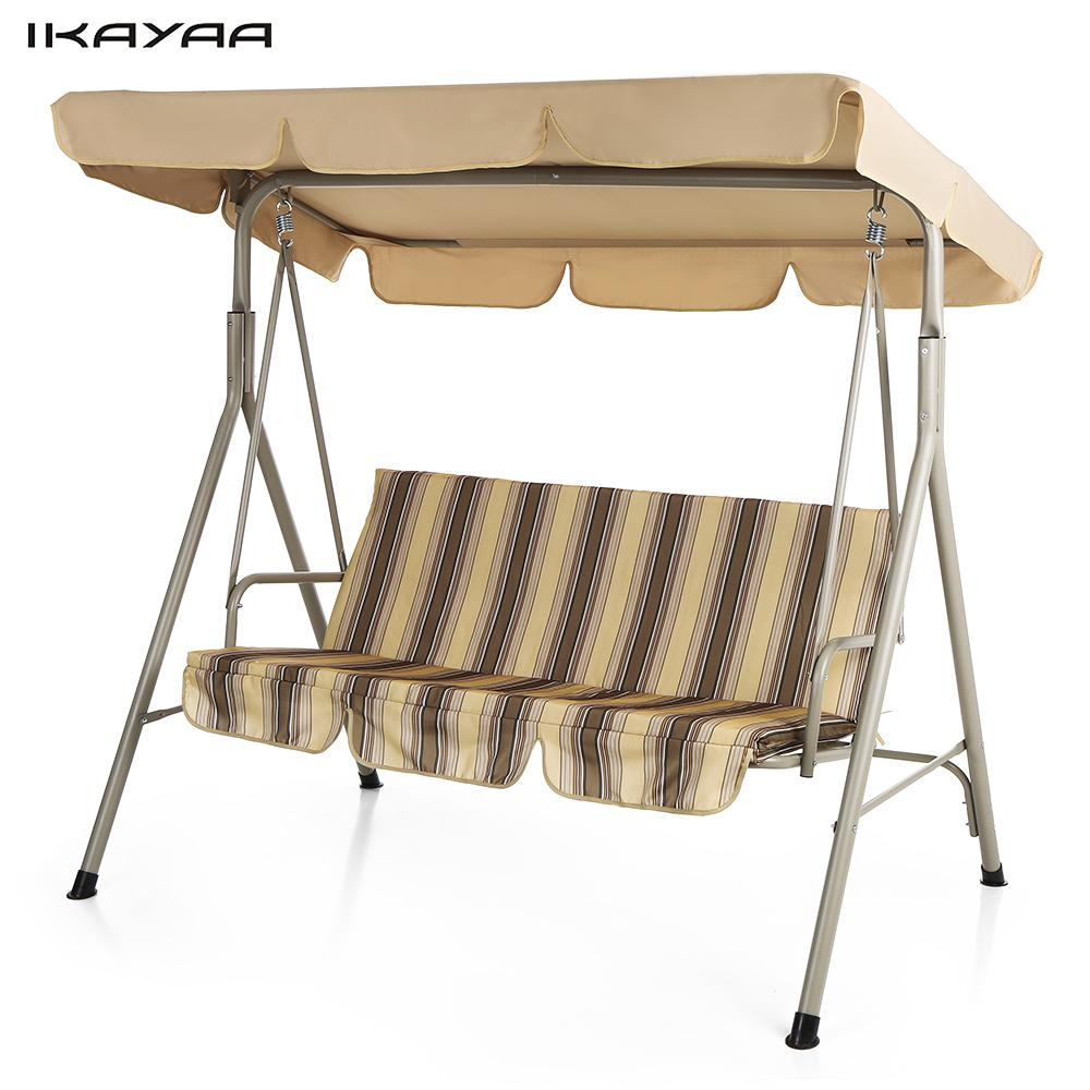 Ikayaa 3 Person Seater Patio Canopy Swing Glider Outdoor Intended For Outdoor Swing Glider Chairs With Powder Coated Steel Frame (View 8 of 25)