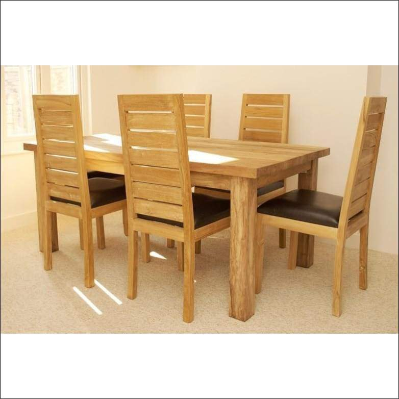 Indian Teak Wood Contemporary Dining Table Set Tdt 2401 With Regard To 6 Seater Retangular Wood Contemporary Dining Tables (View 20 of 25)