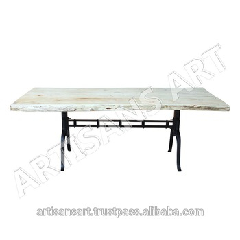 Industrial Custom Made Live Edge White Dining Table Natural Edge,white Finish Acacia Slab Furniture Manufacturer And Exporter – Buy Live Edge Metal For Acacia Wood Dining Tables With Sheet Metal Base (View 6 of 25)
