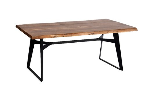 Industrial Dining Table Iron Leg Pertaining To Acacia Wood Top Dining Tables With Iron Legs On Raw Metal (View 6 of 25)