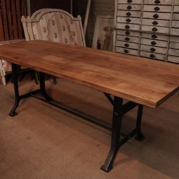 Industrial Dining Table With Cast Iron Base How Awesome Is With Iron Wood Dining Tables (View 24 of 25)