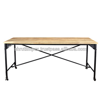 Industrial Furniture Mango Wooden Modern Folded Metal Legs Rectangle Dining Table On Wheels – Buy Round Dining Table,folded Dining Table,mango Wooden For Iron Dining Tables With Mango Wood (View 14 of 25)