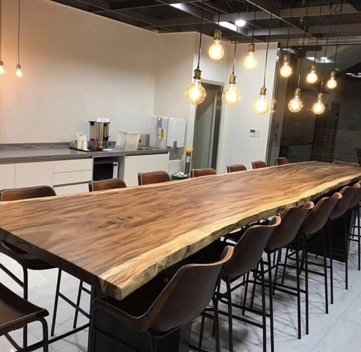 Industrial Furniture Modern Live Edge Slab Solid Walnut Wood Restaurant  Dining Table – Buy Dining Table,restaurant Table,wood Table Product On Within Walnut Finish Live Edge Wood Contemporary Dining Tables (Image 10 of 25)