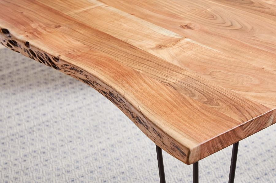 Industrial Natural Acacia Dining Table | 190911 | Tables With Acacia Dining Tables With Black Legs (View 11 of 25)