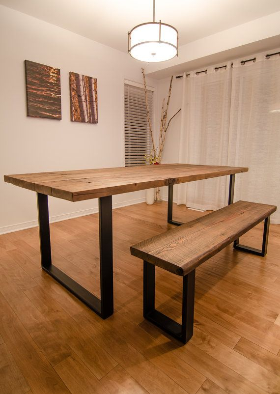 Industrial Reclaimed Wood Dining Table And Bench For Iron Wood Dining Tables (View 11 of 25)