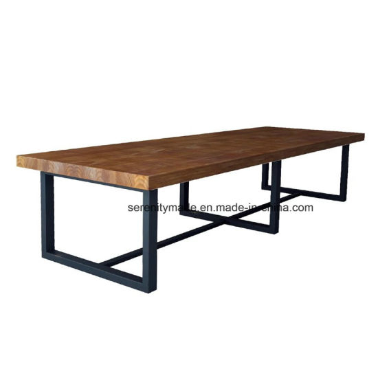 Industrial Style Cast Iron Legs Long Wood Top Dining Table For Sale For Iron Wood Dining Tables With Metal Legs (View 16 of 25)