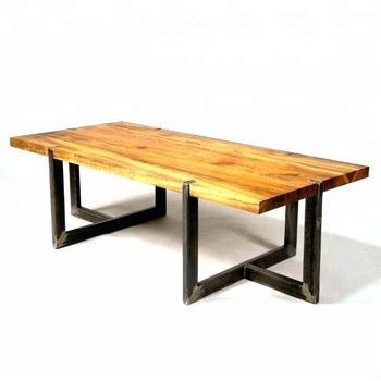 Industrial & Vintage Indian Furniture Iron Metal & Acacia Wood Live Edge  Dining Table – Buy Live Edge Slab Dining Table,wood Rustic Dining Inside Acacia Wood Dining Tables With Sheet Metal Base (Image 10 of 25)