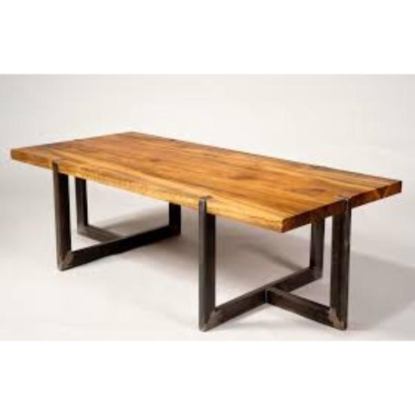 Industrial & Vintage Iron Metal Legs & Acacia Wood Live Edge Dining Table – Buy Live Edge Wood Slab Tables,cross Leg Dining Table,chunky Wood Dining Pertaining To Iron Wood Dining Tables With Metal Legs (View 15 of 25)